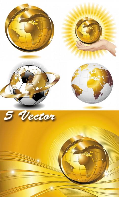 Планеты, земной шар, золотой мир - векторный клипарт