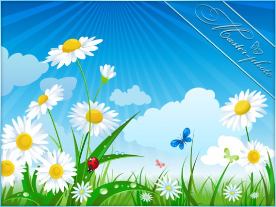 Многослойный PSD исходник для фотошопа - Летняя поляна