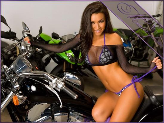 Женский шаблон для фотошопа - Сексуальный байкер