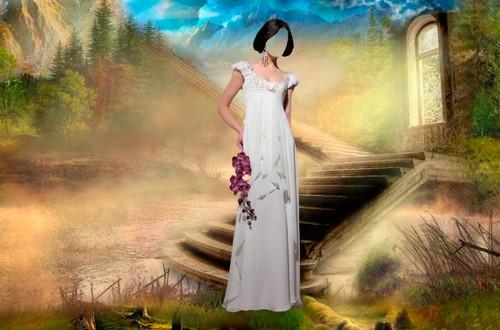 Шаблон для фотошопа  - Девушка с орхидеями