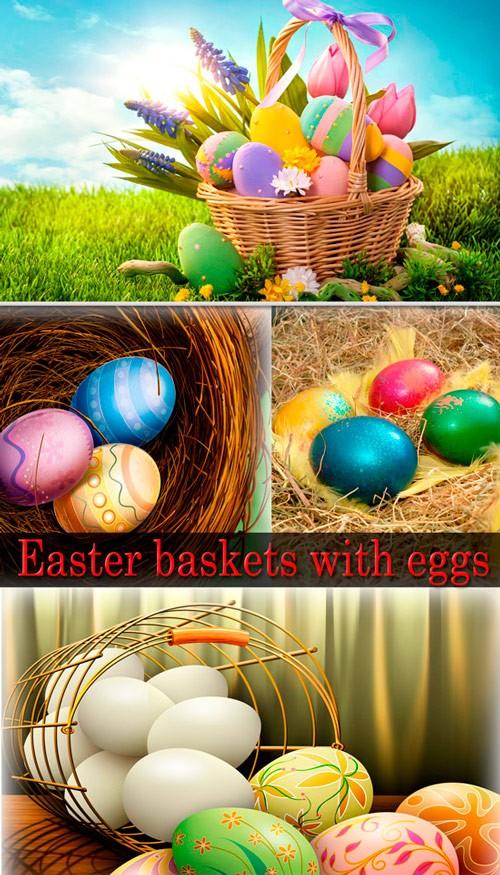 Фото сток - Пасхальные корзины с яйцами
