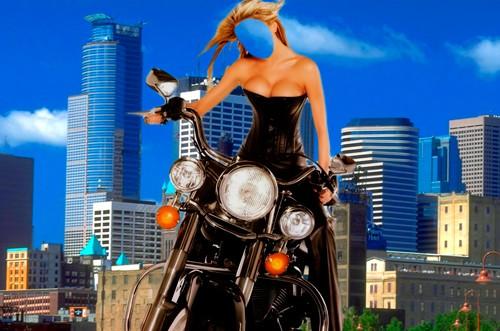 Шаблон для фотошопа  - Прогулка по городу на мотоцыкле