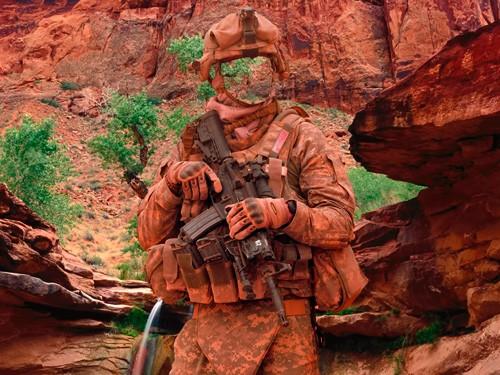 Шаблон для фотошопа  - Спецназовец в горах