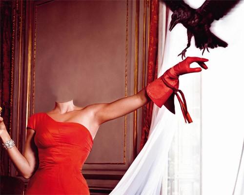 Шаблон для photoshop - В красно ярком платье с вороном