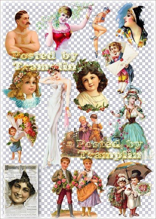 Винтаж – Люди, лица – мужчины, женщины, дети на прозрачном фоне