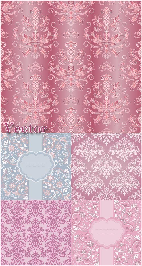 Векторные фоны с узорами, цветочные орнаменты