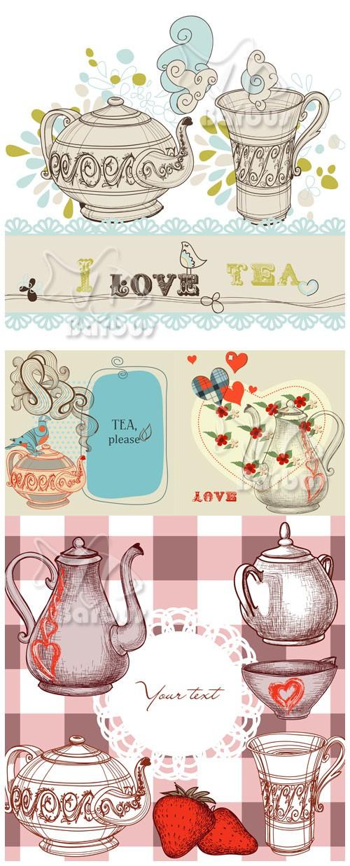 Tea or coffee / Чая или кофе - чайники, кофейники и чашки - Vector stock