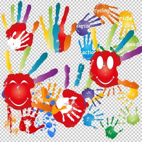 Клипарт PSD - отпечатки рук разноцветной краской на прозрачном фоне