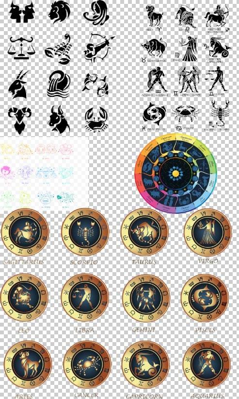 Клипарт PSD - знаки зодиаков по месяцам на прозрачном фоне