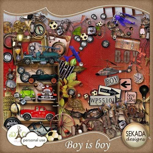 Детский скрап-набор для мальчиков - Мальчишка,есть мальчишка