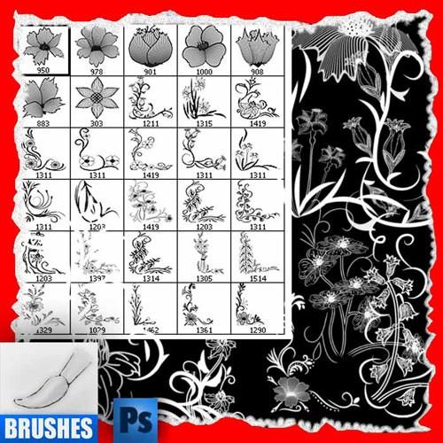 Кисти - Угловые узоры из цветов