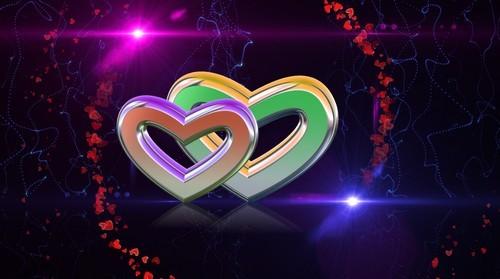 Футаж с вращающимися сердцами и световыми эффектами
