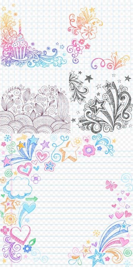 Клипарт PSD - Красивые узоры на тетрадных листах фоны отдельно
