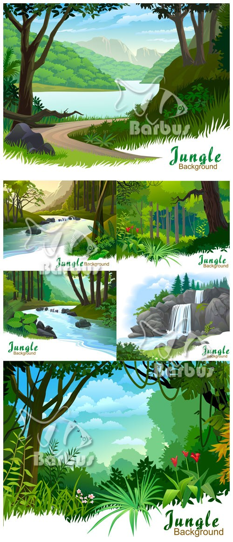 Jungle backgraund / Фоны джунглей - пальмы, дикие цветы, море зеленой травы ...