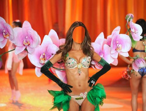 Шаблон psd женский - Красавица на показе моды в костюме из цветов