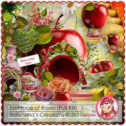 Цветочный скрап-набор - В розовых объятиях