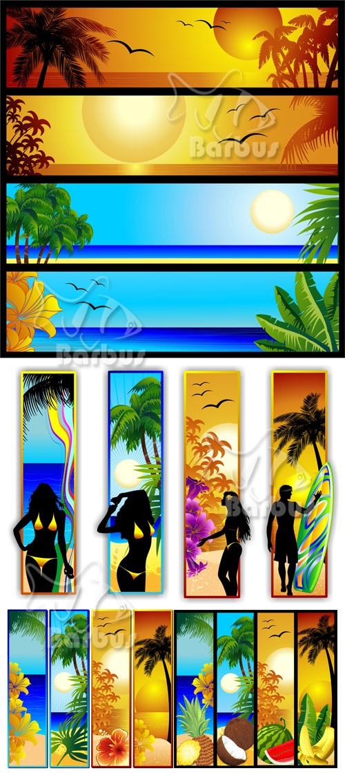 Tropical seascape and sunset banners / Банеры с тропическим пезажем и пляже ...