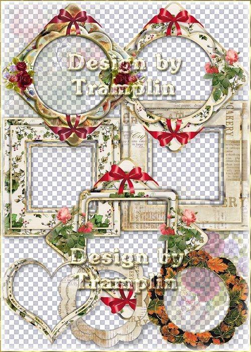 Винтажные  льняные рамки вырезы большого разрешения с розами и бантами