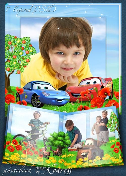 Шаблон детского фотоальбома с героями мультфильма Тачки - Лето в Радиатор С ...