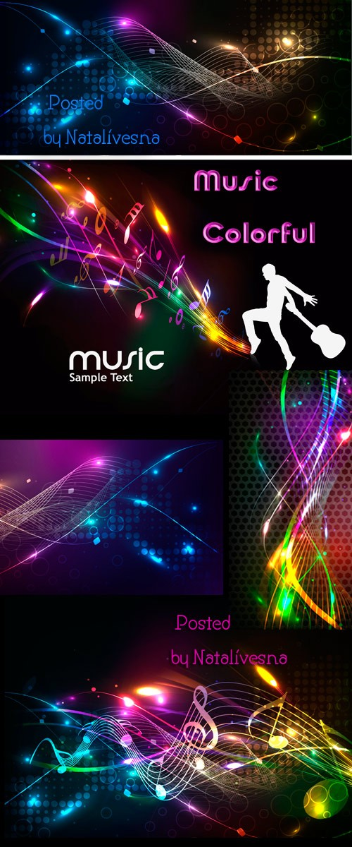 Music colorful in Vector