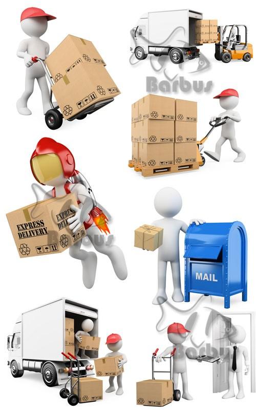 3D men - delivery of parcels / 3D человечки - Доставка посылок