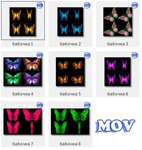 Набор бабочек для видео монтажа прозрачный фон