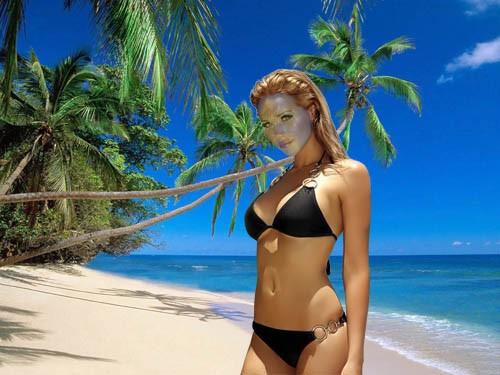 Шаблон psd женский - На море в красивом купальнике