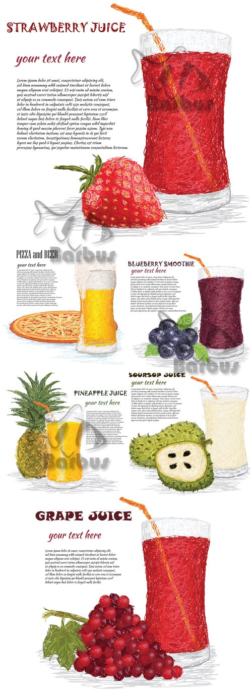 The drawn drinks, fruit and place for the text / Нарисованные напитки, фрук ...