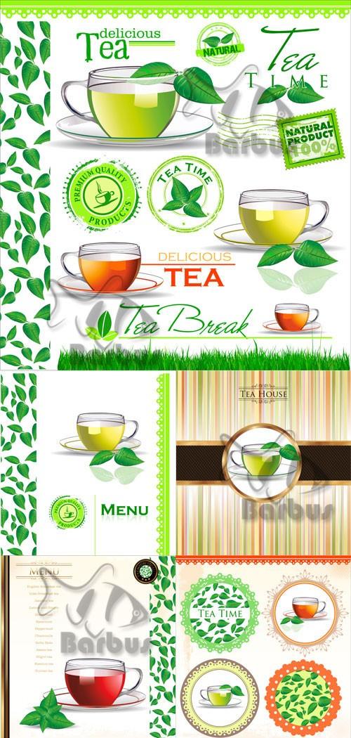 Tea - covers on the menu and labels / Чай - обложки меню и лэйблы