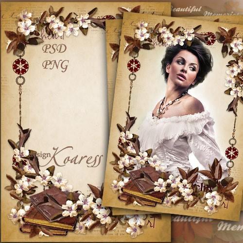 Женская рамка для фотошопа - Страницы старых романов