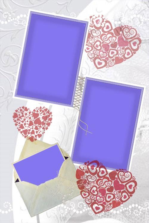 Романтическая рамка на 3 фото в нежных тонах
