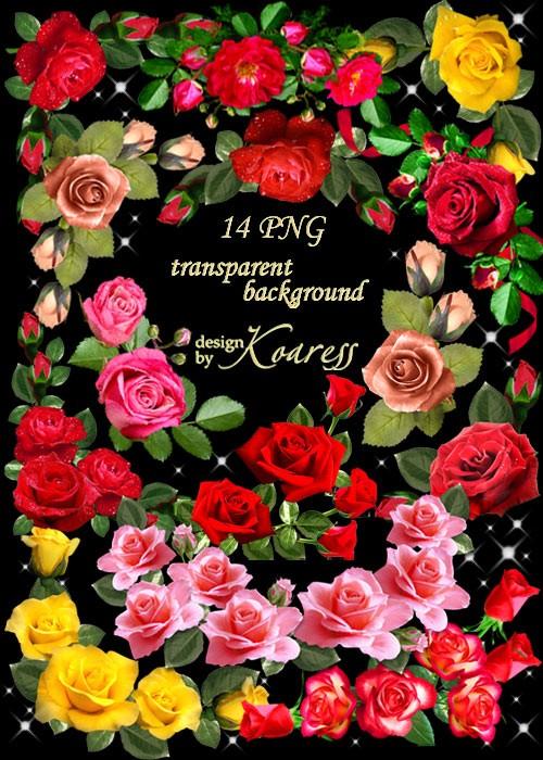 Цветочный PNG клипарт для фотошопа - Уголки из розовых, красных и желтых ро ...