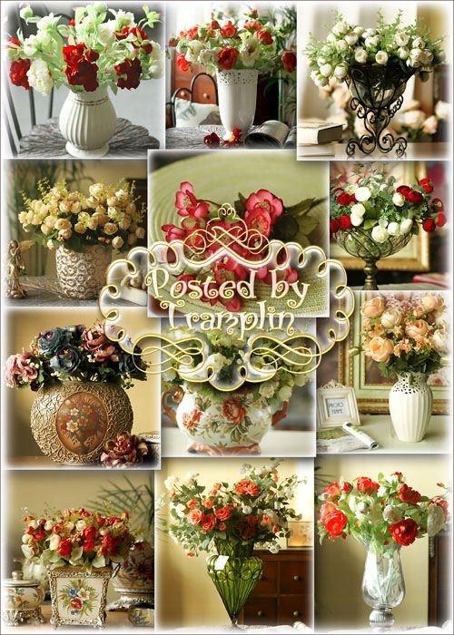 Фото клипарт – Букеты роз в вазах
