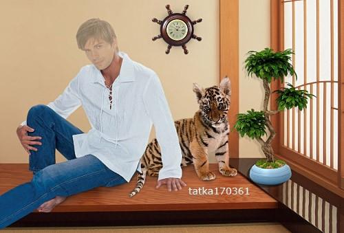 Фотошаблон - Парень с тигренком