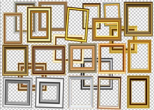 Стильные рамки вырезы с золотой окраской на прозрачном фоне