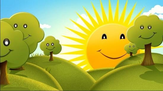 Летний детский футаж - Милое яркое солнышко улыбается