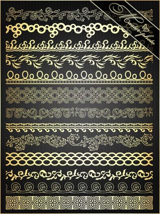Исходник psd для фотошопа - Бордюры оригинальные золотые