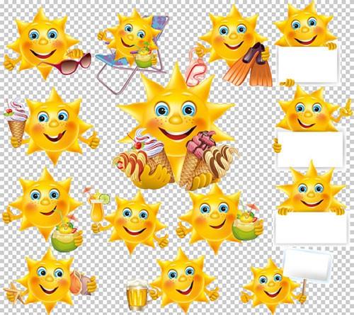 Клипарт - Солнышко с десертом на пляже на прозрачном фоне