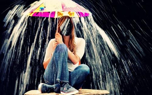 Женский шаблон - Под дождиком