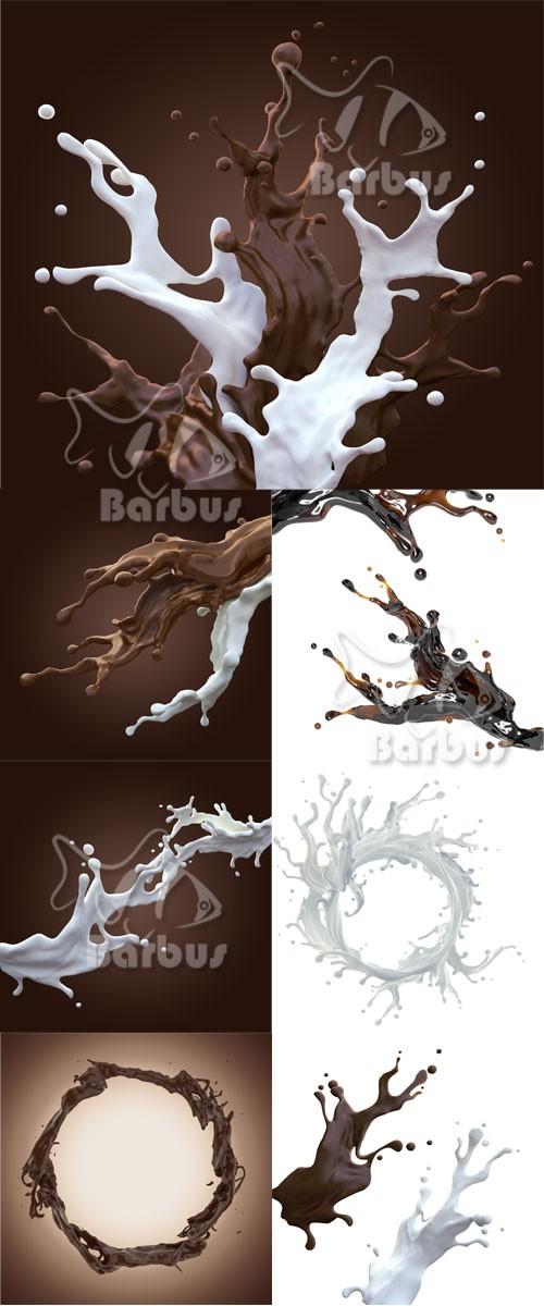 Milk and chocolate splashes / Брызги молока и шоколада