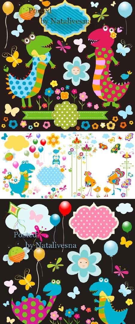 Детские абстрактные фоны в Векторе / Vector - Children's abstract backgroun ...