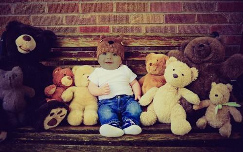 Детский шаблон - Ребёнок с мишками