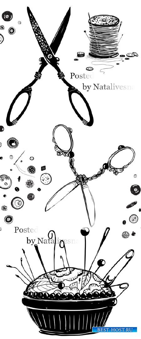 Векторный клипарт - Ножницы, иголки/ Vector clipart - Scissors, needles