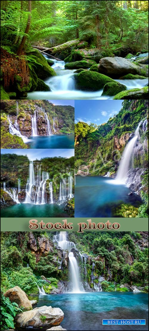 Водопады, природа / Waterfalls, wonderful nature - Raster clipart