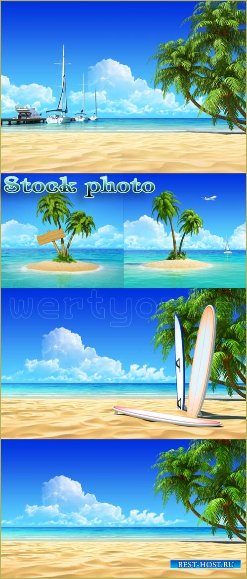 Paradise, island with palm trees, summer, sea - Raster clipart