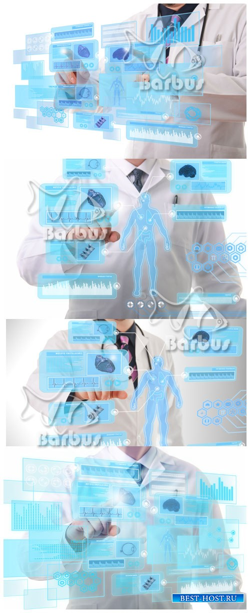 Doctor working on a futuristic touchscreen display / Доктор работает с футу ...