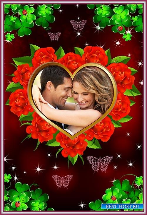 Фотошоп рамка влюблённым сердечко из роз