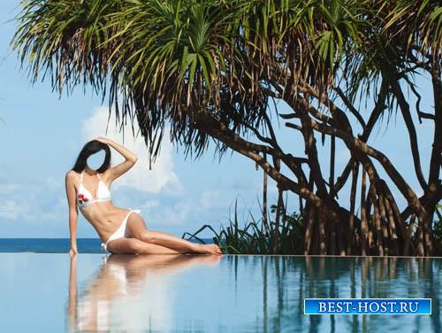 Шаблон женский - Брюнетка у бассейна