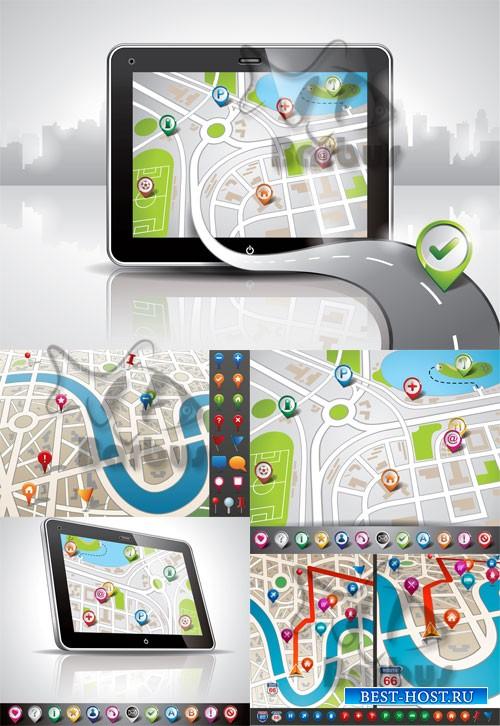 City map with GPS Icons / Карта города с GPS иконками