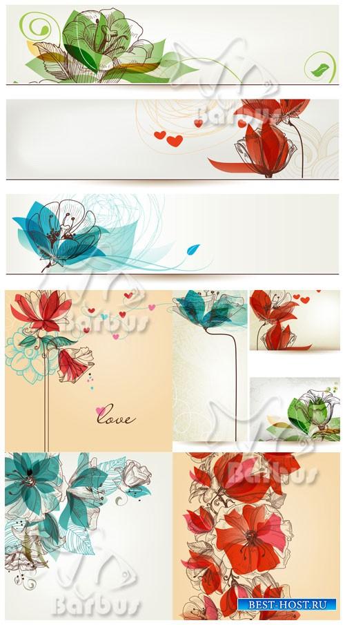 Flowers in retro style 2 / Цветы в ретро стиле 2